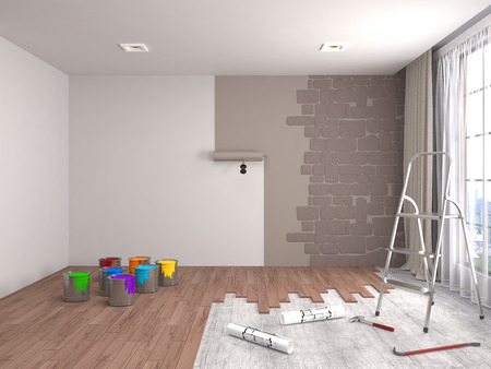 renovating: Repair and painting of walls in room. 3D illustration.
