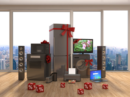 major household appliance: Home appliance with ribbons and discounts in interior. 3D Illustration Stock Photo
