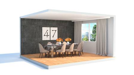 dining area: Interior dining area. 3d illustration