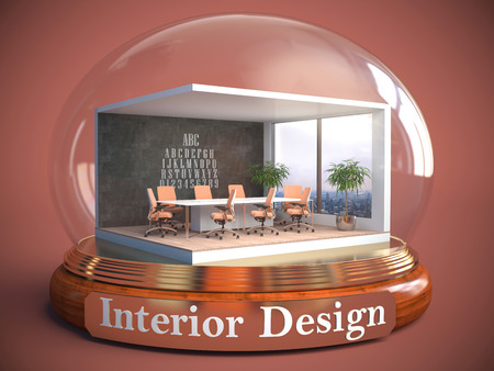 partitions: interior of the room in glass ball. 3D Illustration Stock Photo