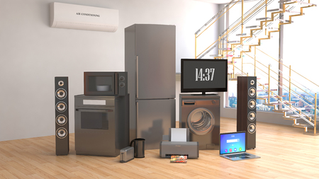 major household appliance: Home appliances. Gas cooker, tv cinema, refrigerator, microwave, laptop and washing machine. 3d illustration