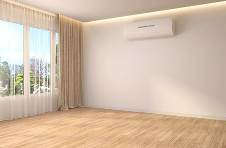 interieur met groot raam. 3D illustratie