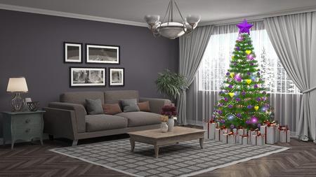 거실에 장식 된 크리스마스 트리입니다. 3D 그림