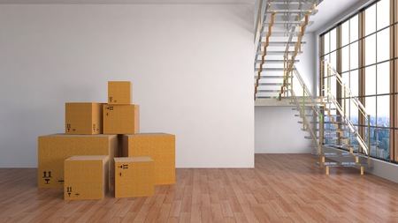 Moving boxes at a new home. 3D Illustration Archivio Fotografico