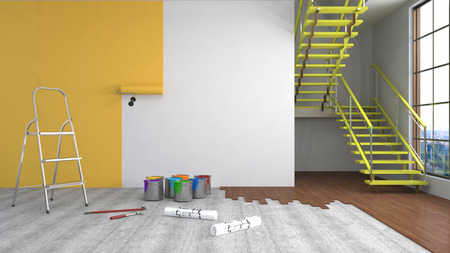 house painter: Repair and painting of walls in room. 3D illustration