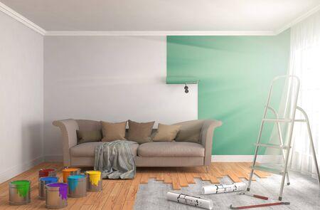 renewal: Repair and painting of walls in room. 3D illustration.