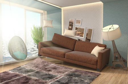 living room furniture: Zero Gravity furniture hovering in living room. 3D Illustration