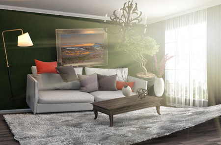 weightless: Zero Gravity Sofa hovering in living room. 3D Illustration