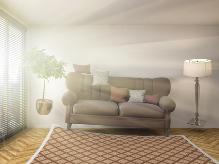 weightless: interior with sofa. 3d illustration