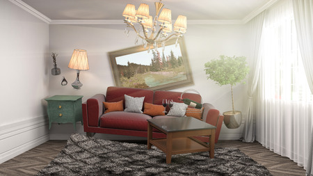 gravedad: Zero Gravity Sofa hovering in living room. 3D Illustration