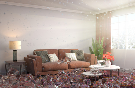 cold room: Disabling heating. Interior with ice. 3D iilustration