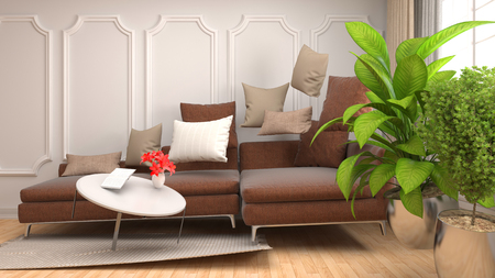 weightless: Zero Gravity furniture hovering in living room. 3D Illustration