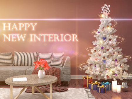 Nice Christmas Tree Living Room Illustration - Living Room Designs ...