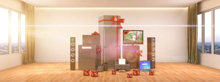 Appareils ménagers. Gazinière, tv cinema, réfrigérateur, micro-ondes, ordinateur portable et machine à laver. Illustration 3D