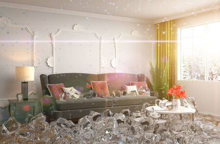 disabling: Disabling heating. Interior with ice. 3D iilustration