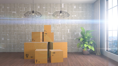 delivery room: Moving boxes at a new home. 3D Illustration Stock Photo