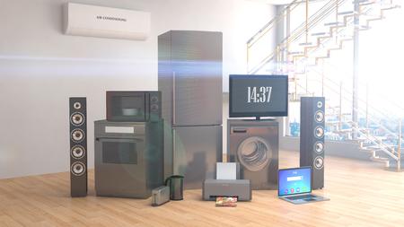 Huishoudelijke apparaten. Gasfornuis, tv-bioscoop, koelkast, magnetron, laptop en wasmachine. 3D illustratie