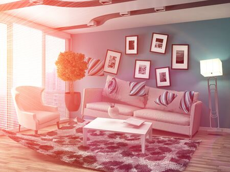 Zero Gravity Sofa hovering in living room. 3D Illustration