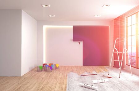 house painter: Repair and painting of walls in room. 3D illustration.