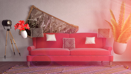 Zero Gravity furniture hovering in living room. 3D Illustration