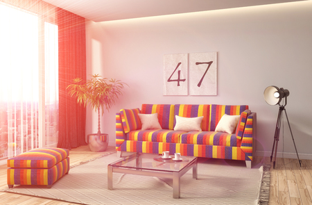locality: interior with sofa. 3d illustration
