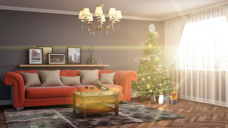 locality: Christmas tree with decorations in the living room. 3d illustration Stock Photo
