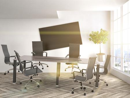zero gravity: Zero Gravity in office interior. 3D Illustration Stock Photo