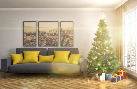 feast: Christmas tree with decorations in the living room. 3d illustration Stock Photo