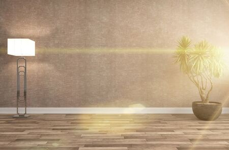living room wall: interior with plant. 3d illustration