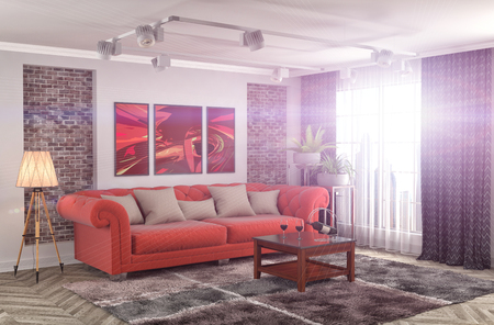 red sofa: interior with sofa. 3d illustration