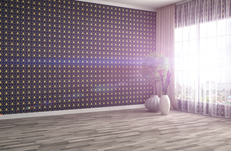 living room wall: interior with large window. 3d illustration