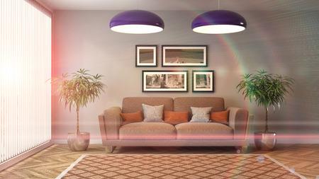 interior with sofa. 3d illustration