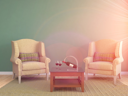 red sofa: interior with chair. 3d illustration Stock Photo