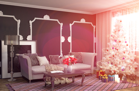 gladden: Christmas tree with decorations in the living room. 3d illustration Stock Photo