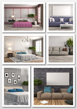 comfortable: Collage of modern home interior. 3d illustration Stock Photo