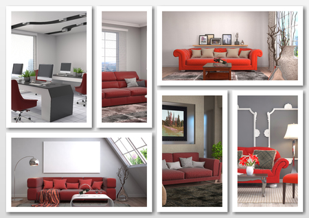 red sofa: Collage of modern home red interior. 3d illustration