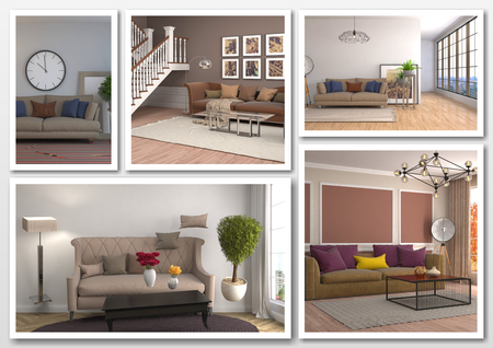 comfortable: Collage of modern home brown interior. 3d illustration Stock Photo