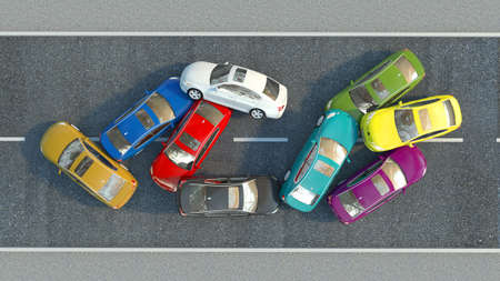 accident on the road. 3d illustration