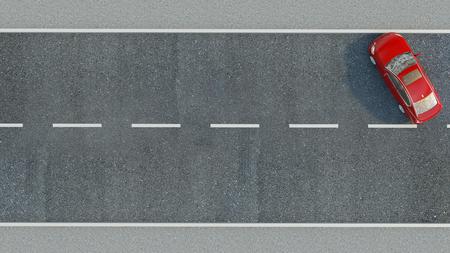 Coche en la carretera. 3d ilustración Foto de archivo - 74872583