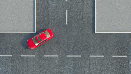 car on the road. 3d illustration