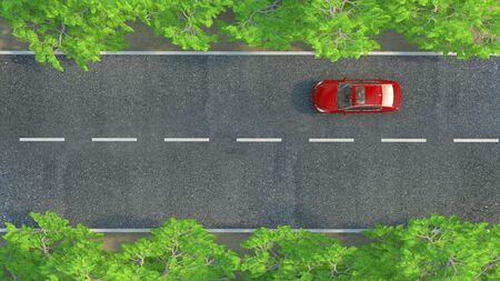 view from above: car on the road. 3d illustration