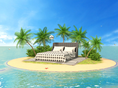 green couch: The concept of vacation. Rest on soft furniture on the island. 3d illustration