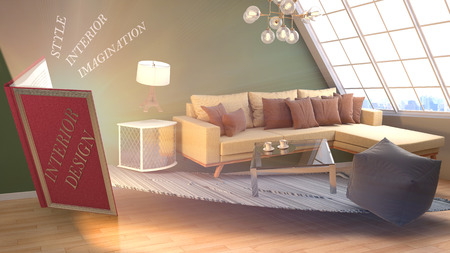 The concept of creating interior design. 3d illustration