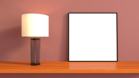 mocks: mock up poster frame in interior background. 3D Illustration