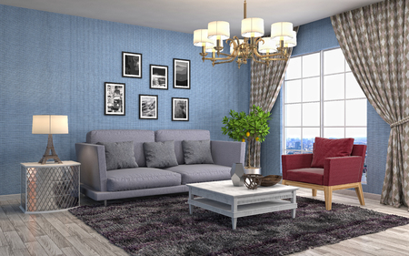 Interior living room. 3d illustration Stock Photo