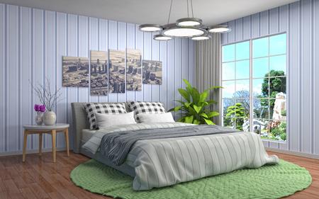 luxury living room: Bedroom interior. 3d illustration