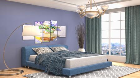 hotel bedroom: Bedroom interior. 3d illustration