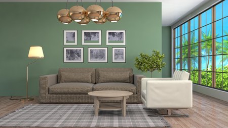 apartment: Interior living room. 3d illustration Stock Photo