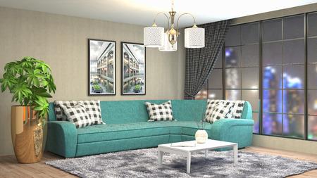 Interior living room. 3d illustration Reklamní fotografie