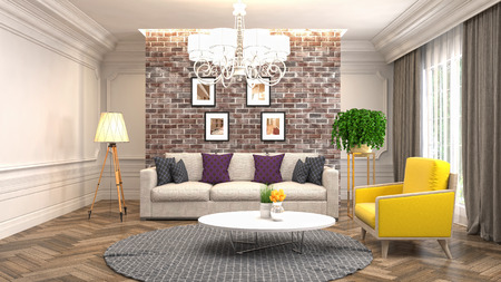Interior living room. 3d illustration Фото со стока